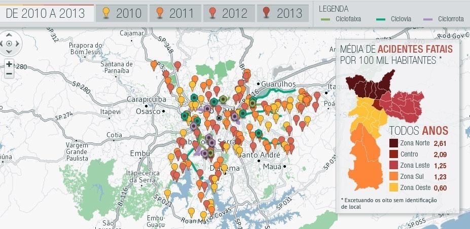 16.set.2013 - Infográfico mortes de ciclistas x malha cicloviária na capital Paulista