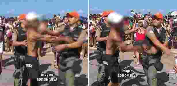 Após o tapa, os óculos de sol do jovem foram arrancados do rosto e pararam longe - Reprodução/TV Globo
