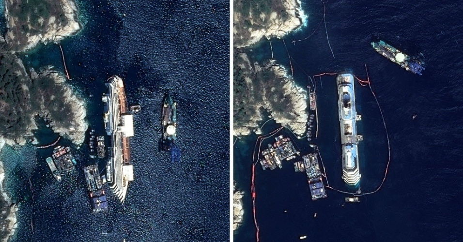 17.set.2013 - A montagem de imagens feitas pelo satélite Astrium mostra o cruzeiro Costa Concórdia antes e depois da operação que o fez emergir das águas da ilha de Giglio, na Itália, nessa segunda-feira (16). A foto da esquerda foi tirada no dia 12 de setembro e a da direita nesta terça-feira (17)