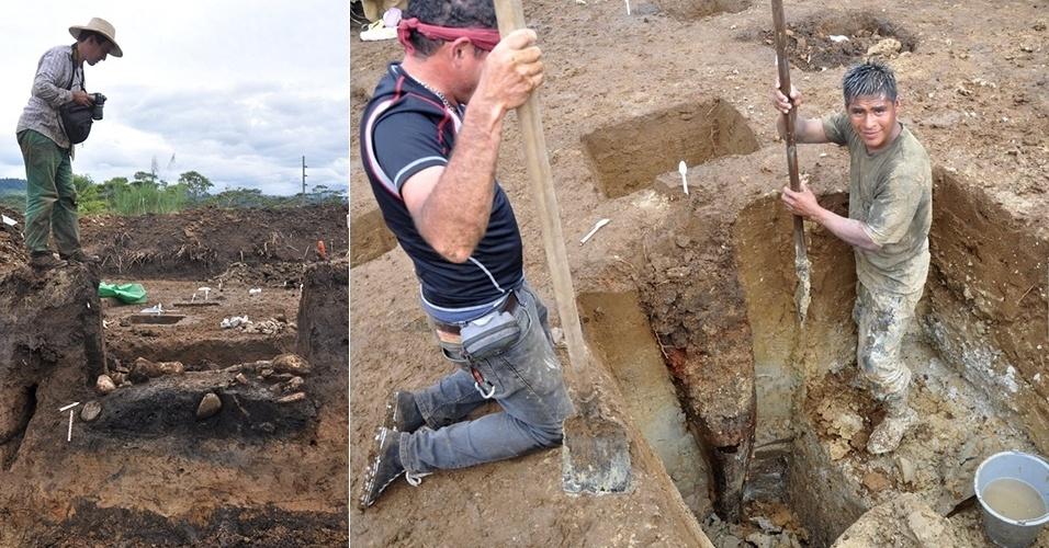 17.set.2013 - Equipe internacional de arqueólogos descobriu na Amazônia equatoriana os restos de uma casa construída há cerca de 3.000 anos. A construção mais antiga da região amazônica foi erguida no formato oval, com 17 metros de comprimento e 11 de largura, mostram as marcas das pilastras achadas no sítio perto de Puyo, na província de Pastaza - até um tronco de árvore, enterrado de cabeça para baixo na camada freática, foi usado como coluna da residência