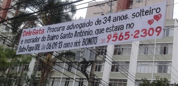 """Advogada de 30 anos de Belo Horizonte, afixou quatro faixas em ruas do entorno do bairro Santo Antônio, o santo """"casamenteiro"""", na zona sul da cidade, divulgando seu telefone para contato e procurando """"Bonito"""" - Carlos Eduardo Cherem/UOL"""