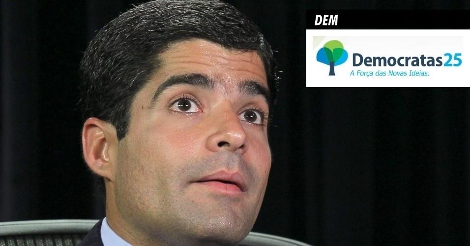 18.set.2013 - DEM (Democratas) - É atualmente presidido pelo senador José Agripino Maia (RN) e tem como filiado o atual prefeito de Salvador, ACM Neto (foto). Foi criado a partir do antigo PFL (Partido da Frente Liberal), em março de 2007, com a proposta de renovação da legenda, que herdou políticos da Arena (Aliança Renovadora Nacional). Em 2012, recebeu R$ 18,1 milhões do Fundo Partidário