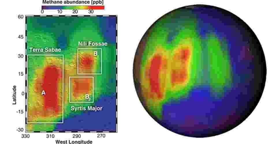 19.set.2013 - As medições de alta precisão do robô Curiosity não encontraram vestígios de metano na atmosfera rarefeita de Marte no último ano, segundo a Nasa (Agência Espacial Norte-Americana)descoberta que contraria observações anteriores, feitas a partir da Terra em 2003, que indicavam grandes nuvens da substância (manchas vermelhas, acima) no planeta vermelho - Nasa/JPL