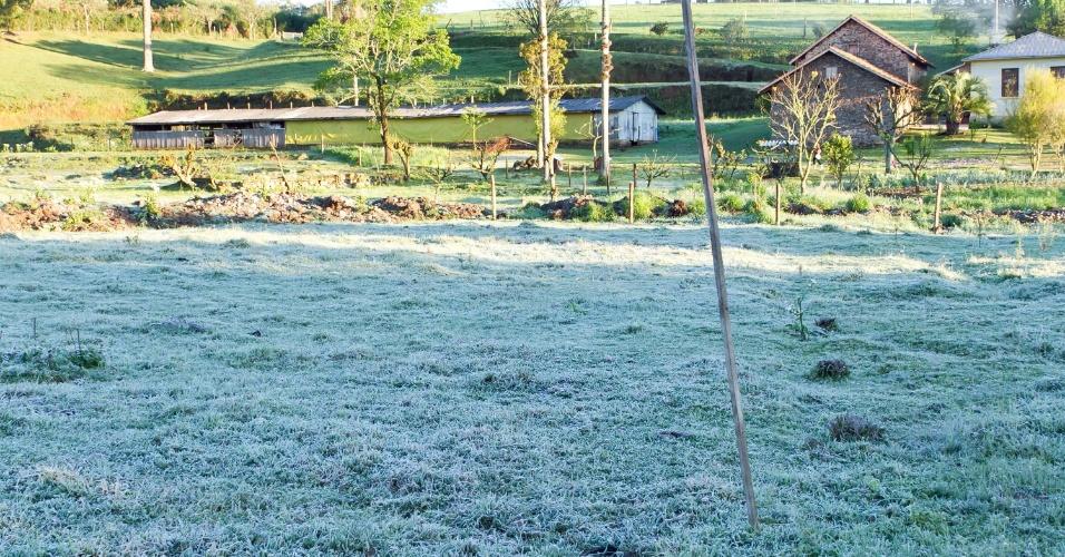 19.set.2013 - Geada cobre grama em Caxias do Sul (RS), na manhã desta quinta-feira (19). A temperatura da cidade às 8h era de 4ºC