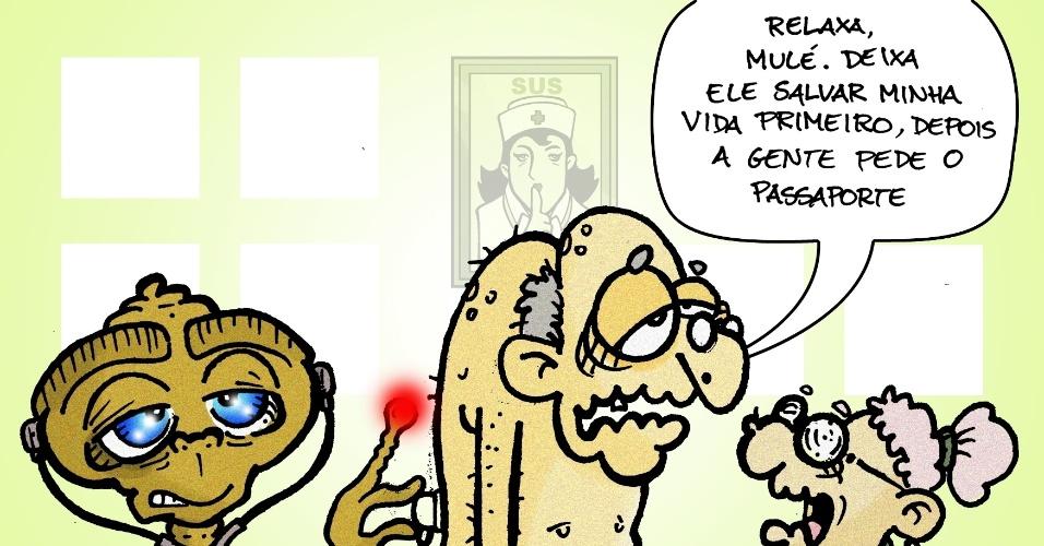 20.set.2013  - O chargista Brum critica a polêmica em torno do atendimento dos médicos estrangeiros