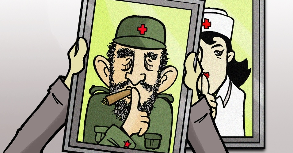 20.set.2013 - O chargista Brum retrata com humor a doutrina dos médicos cubanos