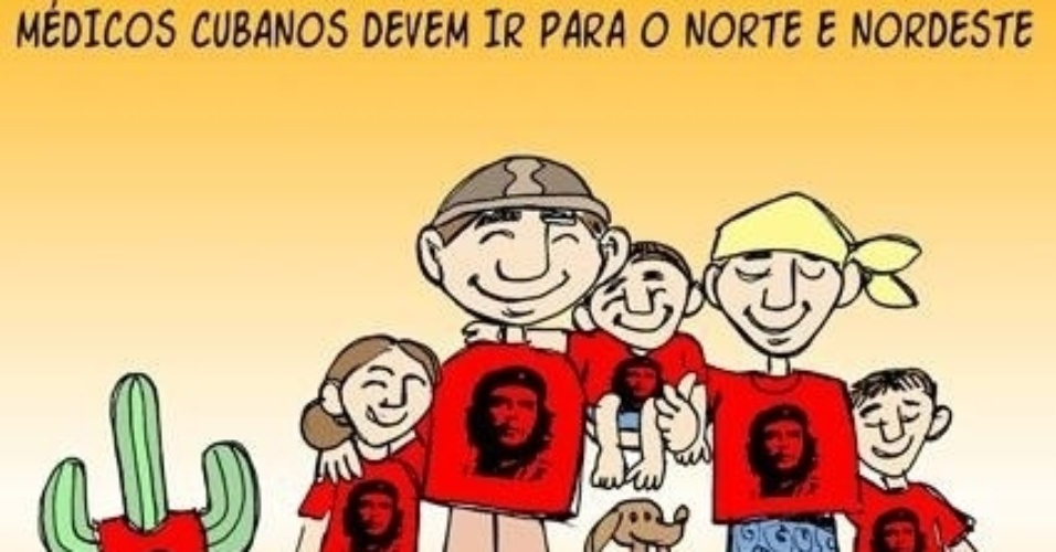 20.set.2013 - O chargista Genildo retrata com humor a relação dos pacientes do SUS com os médicos cubanos