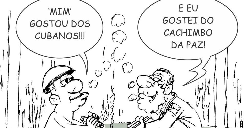 20.set.2013 - O chargista Genildo retrata com humor a relação entre os médicos estrangeiros e os pacientes indígenas