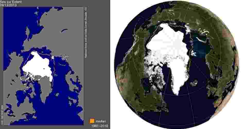 20.set.2013- Menor extensão do gelo do ártico no ano foi em 13 de setembro de 2013, com 5,1 milhões de quilômetros quadrados, o sexto menor tamanho já registrado. A linha laranja mostra a média do tamanho da camada de gelo entre 1981 e 2010. À direita, imagem de 16 de setembro mostra a extensão mínima sob outro ângulo - National Snow and Ice Data Center/Nasa Earth Observatory