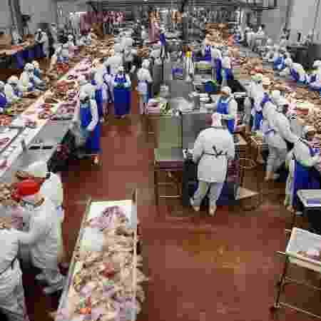 7.out.2011 - Operário em linha de processamento de frigorífico da Marfrig, localizado na cidade de Promissão, no interior de São Paulo (SP) - Paulo Whitaker/Reutesr