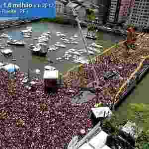 25.02.2006 - Multidão de foliões durante o desfile do Galo da Madrugada, o bloco carnavalesco mais famoso do mundo, nas ruas de Recife (PE). (Recife (PE) - Fernando Donasci/Folhapress/UOL