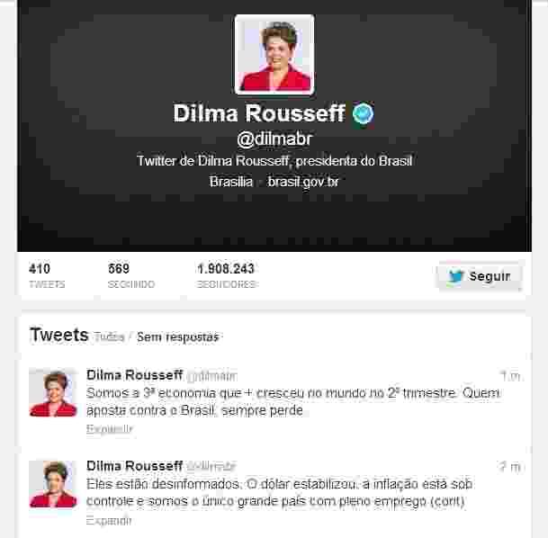 27.set.2013 - A presidente Dilma Rousseff voltou a usar o Twitter (@dilmabr) após quase três anos sem usar sua conta no microblog. O último post havia sido em 13 de dezembro de 2010, antes mesmo da sua posse como presidente. Ela também anunciou sua entrada na rede social Instagram (@palaciodoplanalto) e no Facebook - Reprodução/Twitter/@dilmabr