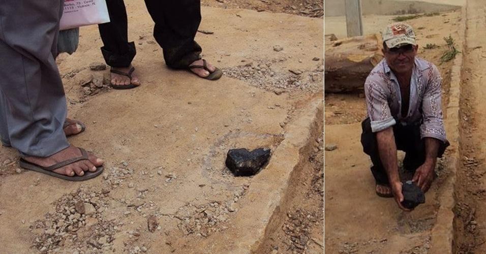 """27.set.2013 - Marceneiro Adeildo Silva mostra suposto meteorito que quase o atingiu quando estava trabalhando na calçada de sua oficina na última segunda-feira (23), em Povoado Borracha, que fica na zona rural do município de Vicência, a 83 quilômetros de Recife (PE). A pedra escura, que tem cerca de 1,2 quilo e 20 centímetros, abriu um buraco quando atingiu o solo. """"A pedra estava muito quente de um lado e do outro completamente fria [quando a peguei do chão]. É muito estranho tudo isso"""", explicou"""