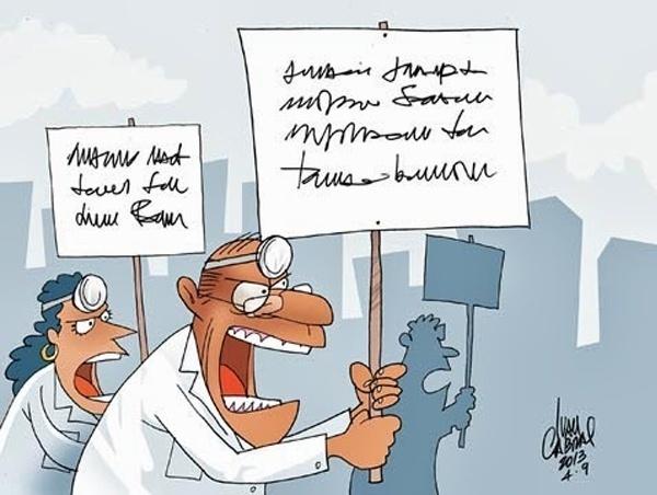 27.set.2013 - O chargista Ivan Cabral retrata com humor a dificuldade de entender a caligrafia dos médicos