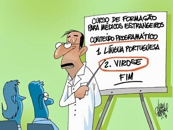 27.set.2013 - O chargista Ivan Cabral retrata com humor o curso de acolhimento realizado pelos médicos estrangeiros