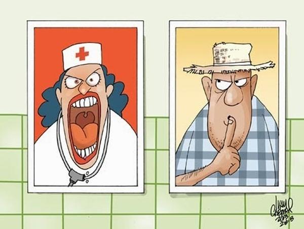 27.set.2013  -O chargista Ivan Cabral retrata com humor um paciente pedindo pelo fim da histeria dos médicos brasileiros contra os profissionais estrangeiros