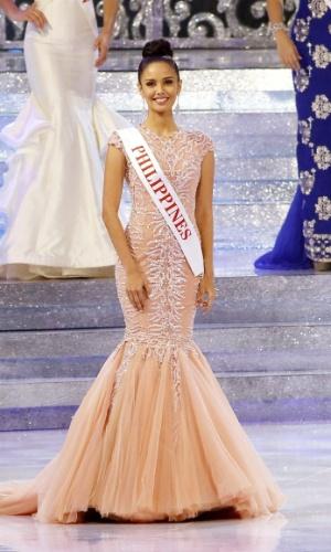 28.set.2013 - Megan Yong, Miss Filipinas, se apresenta no palco do Miss Mundo 2013 realizado em Bali (Indonésia). O concurso reúne 127 candidatas de várias partes do mundo