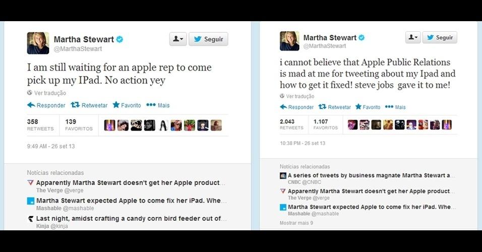 30.set.2013 - Martha Stewart, uma das apresentadoras de TV mais populares nos Estados Unidos, quebrou a tela de seu iPad e, na ânsia de conseguir com que ele fosse consertado, protagonizou uma série de tuítes ''memoráveis''. Normalmente, a pessoa deve procurar uma assistência técnica da Apple ou enviar o gadget quebrado via Correios. Martha, no entanto, aguardava que algum representante da empresa retirasse na sua casa o tablet que, diz ela, lhe foi presenteado por Steve Jobs, cofundador da Apple. ''Não posso acreditar que o relações públicas da Apple está bravo comigo por tuitar sobre meu iPad e como posso fazer para consertá-lo'', escreveu