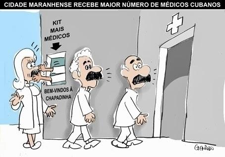 4.out.2013 - O chargista Genildo retrata com humor a chegada dos médicos estrangeiros ao Maranhão, Estado governado pela família Sarney