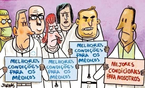 4.out.2013 - O chargista Jarbas critica a austeridade dos médicos brasileiros com os profissionais estrangeiros