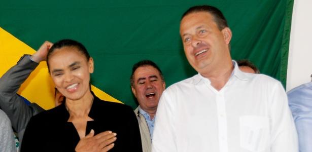 Marina Silva e Eduardo Campos durante filiação da ex-senadora ao PSB