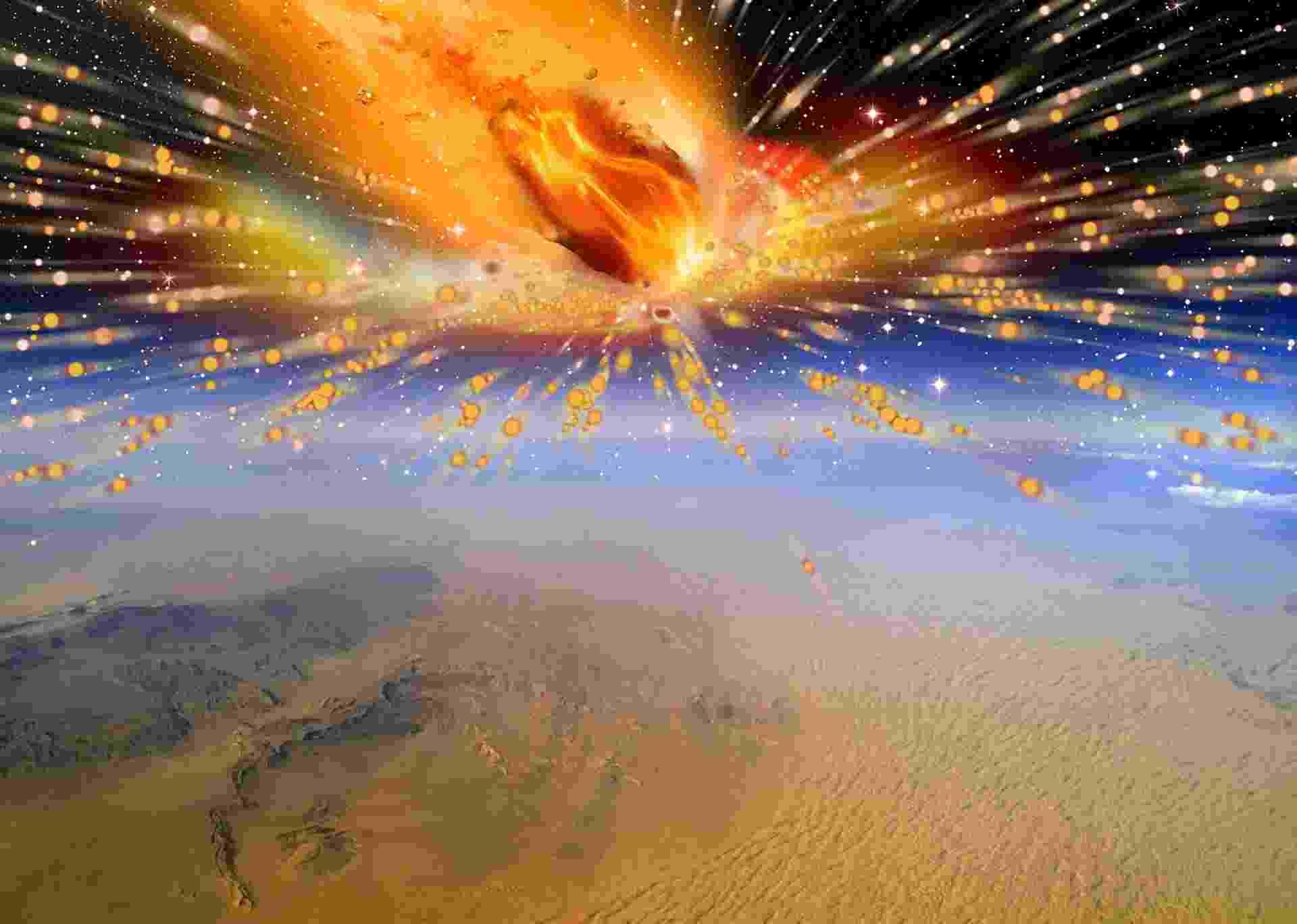 9.out.2013 - A primeira evidência de que um cometa entrou na atmosfera da Terra e explodiu sobre o Egito, destruindo toda forma de vida ao redor da região do Saara, foi descoberta por uma equipe da Universidade de Witwatersrand, na África do Sul. O fato ocorrido há 28 milhões de anos pode ajudar os cientistas a desvendar os segredos da formação do nosso Sistema Solar - Terry Bakker