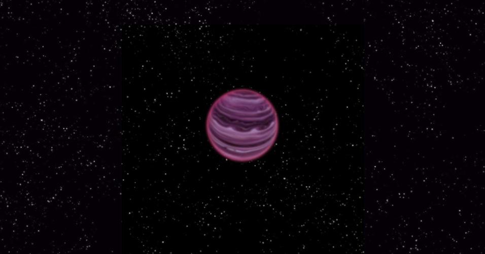 9.out.2013 - Imagem do planeta PSO J318.5-22, na constelação de Capricórnio, que está a apenas 80 anos-luz da Terra e tem uma massa seis vezes maior que a de Júpiter. Astrônomos dizem ter encontrado um planeta solitário fora do sistema solar flutuando sozinho no espaço e não orbitando uma estrela. Formado há 12 milhões de anos, o planeta -- extremamente frio e leve, cerca de 100 bilhões de vezes mais fraca em luz visível do que Vênus -- é considerado um recém-nascido entre os seus pares