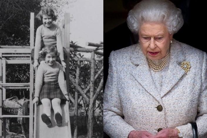 A rainha Elizabeth 2ª (acima) brinca com sua irmã Margaret em foto sem data de quando eram crianças