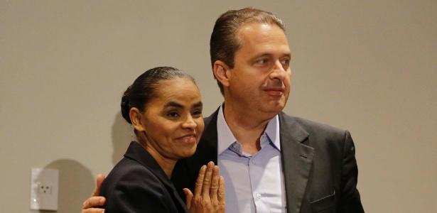 A ex-senadora Marina Silva e o governador de Pernambuco, Eduardo Campos (PSB), participam de entrevista coletiva em São Paulo - Nelson Antoine/Fotoarena/Estadão Conteúdo