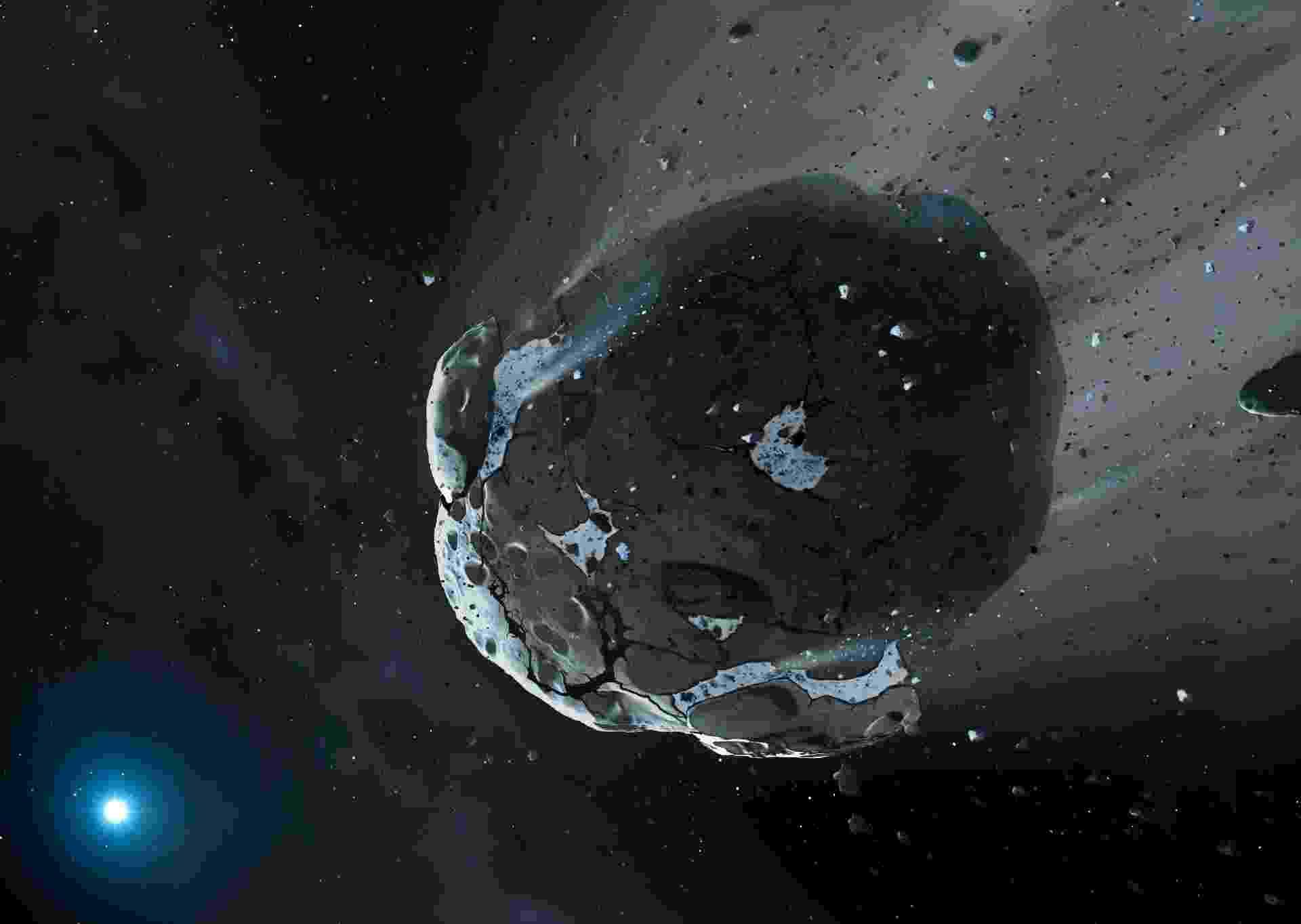 10.out.2013 - Telescópio Hubble identificou 26% de água na composição de um corpo rochoso encontrado ao redor da anã branca GD 61, sinal de que a vida como conhecemos pode ter existido fora do Sistema Solar. Segundo os pesquisadores, a água revela que o asteroide era um pedaço de um planeta já extinto, com pelo menos 90 quilômetros de diâmetro, que orbitava a estrela há 200 milhões de anos - Mark A. Garlick