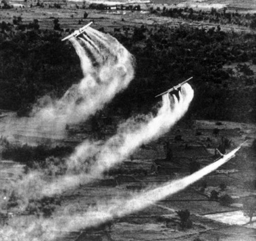 Vietnã (1962 - 1971) - O Exército norte-americano espalhou quase 76 milhões de litros de herbicidas como o agente laranja, fabricado pela multinacional Monsanto e usado para destruir as florestas onde os guerrilheiros vietnamitas se escondiam. Milhares de pessoas morreram em decorrência dos problemas causados pela exposição ao veneno, que contaminou alimentos e água, deixando pessoas doentes ao longo de três gerações