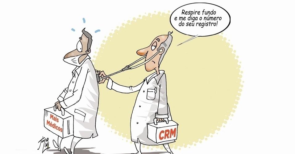 11.out.2013 - O cartunista Junior Lima retrata com humor o imbróglio para os CRMs (Conselhos Regionais de Medicina) emitirem os registros provisórios aos médicos inscritos no Mais Médicos