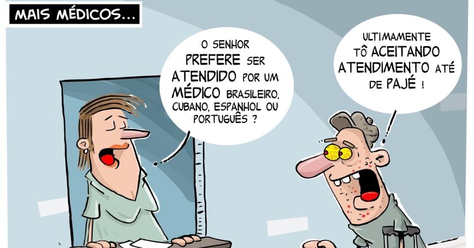 11.out.2013 - O chargista Cazo critica a polêmica criada em torno dos profissionais estrangeiros inscritos no programa Mais Médicos