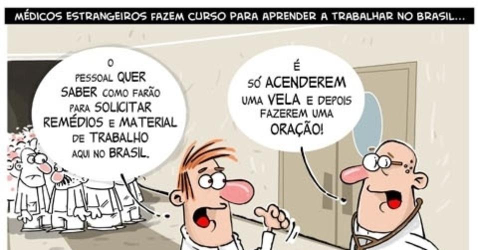 11.out.2013 - O chargista Cazo critica com humor a falta de investimentos na área da saúde