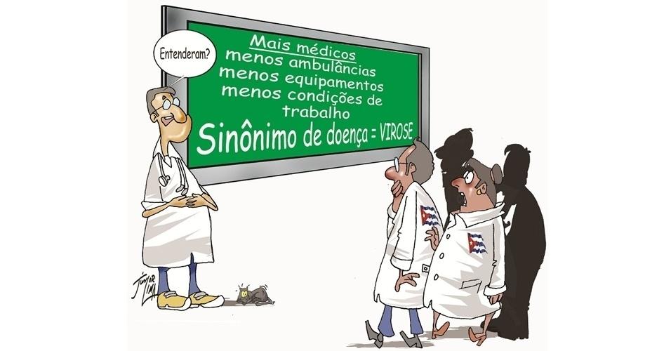 O cartunista Junior Lima critica a falta de investimentos na área da saúde