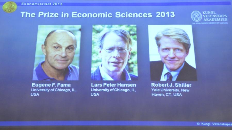 14.out.2013 - Os economistas Eugene F. Fama e Lars Peter Hansen e Robert Shiller ganharam o prêmio Nobel de Economia em 2013 - Jonathan Nackstrand/AFP