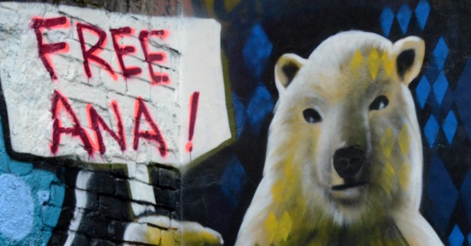 15.jul.2013 - Grafiteiro brasileiro Eduardo Kobra faz obra em apoio a ativista brasileira do Greenpeace, Ana Paula Maciel, que está presa na Rússia por pirataria após um protesto da ONG ambientalista
