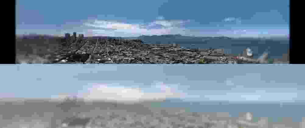 """17.out.2013 - O artista Nickolay Lamm criou uma série de imagens que buscam comparar um olho humano (foto do alto) como o jeito que um gato enxerga (foto de baixo). Para o trabalho, ele contou com o apoio de médicos veterinários e oftalmologistas. Segundo a pesquisa deles, a maioria dos gatos não vê as cores vermelho e verde e são mais sensíveis a azul e a amarelo. As fotos foram divulgadas no site da """"Wired"""" - Nickolay Lamm/The Eye Institute Animal"""