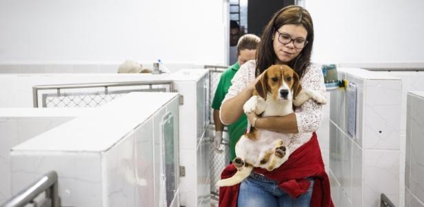 18.out.2013 - Cães da raça beagle são retirados por manifestantes de laboratório do Instituto Royal - Avener Prado/Folhapress