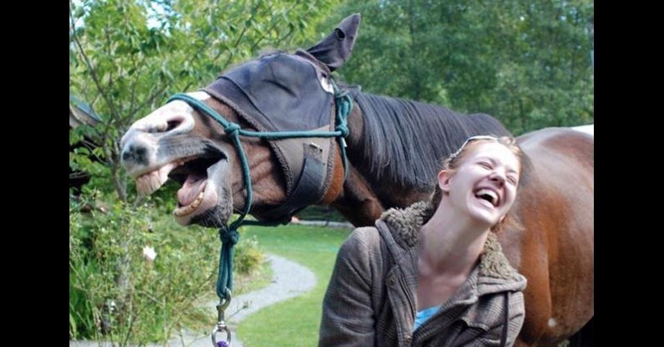 Os photobombs (termo em inglês para momentos em que algo ou alguém aparecer inesperadamente em uma foto provocando um efeito engraçado) sempre guardam algum elemento surpresa (às vezes muito claro, em outras, nem tanto): no caso acima, é o cavalo