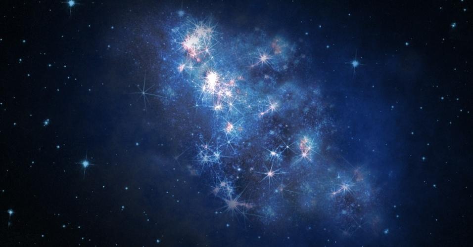"""23.out.2013 -Astrônomos encontraram a mais distante galáxia até agora, permitindo que os cientistas """"enxerguem"""" o Universo tal qual era cerca de 700 milhões de anos após o início. A luz da galáxia, batizada de z8_GND_5296, levou cerca de 13,1 bilhões de anos-luz para chegar ao Telescópio Orbital Hubble e ao Observatório Keck, no Havaí"""