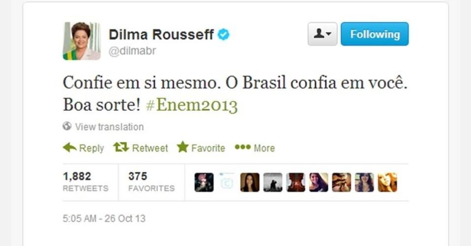 A presidente Dilma Rousseff usa o twitter para desejar boa sorte aos candidatos do Enem (Exame Nacional do Ensino Médio) 2013