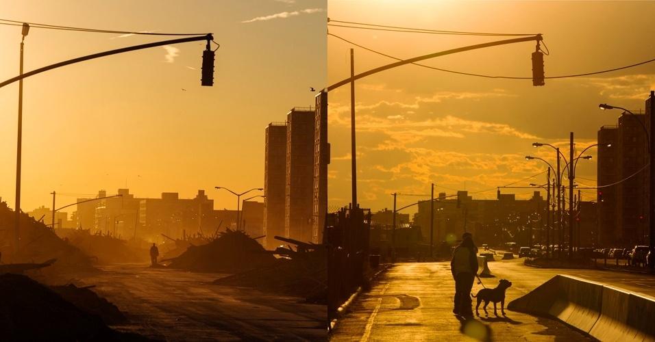 28.out.2013 - À esquerda, homem caminha em área destruída no bairro Queens, em Nova York, em 6 de novembro de 2012. À direita, homem caminha com cachorro no mesmo local reconstruído, em 24 de outubro de 2013. A passagem supertempestade histórica que matou pelo menos 159 pessoas, danificou mais de 650 mil casas, e trouxe prejuízos estimados em US$ 65 milhões para o país, completa um ano nesta terça-feira (29)