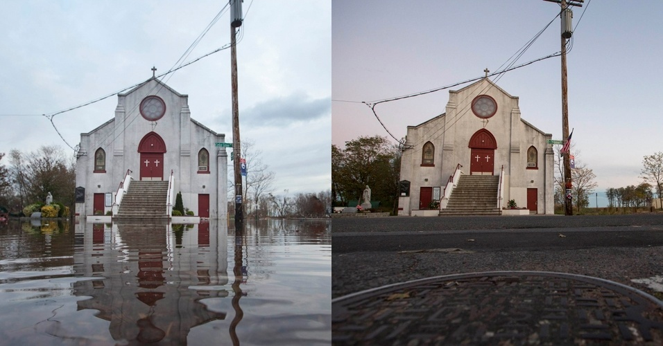 28.out.2013 - À esquerda, igreja fica em meio à inundação em bairro perto da praia de Nova Dorp, em Nova York, após passagem do furacão Sandy, em 1º de novembro de 2012; à direita, o mesmo local em 22 de outubro de 2013.