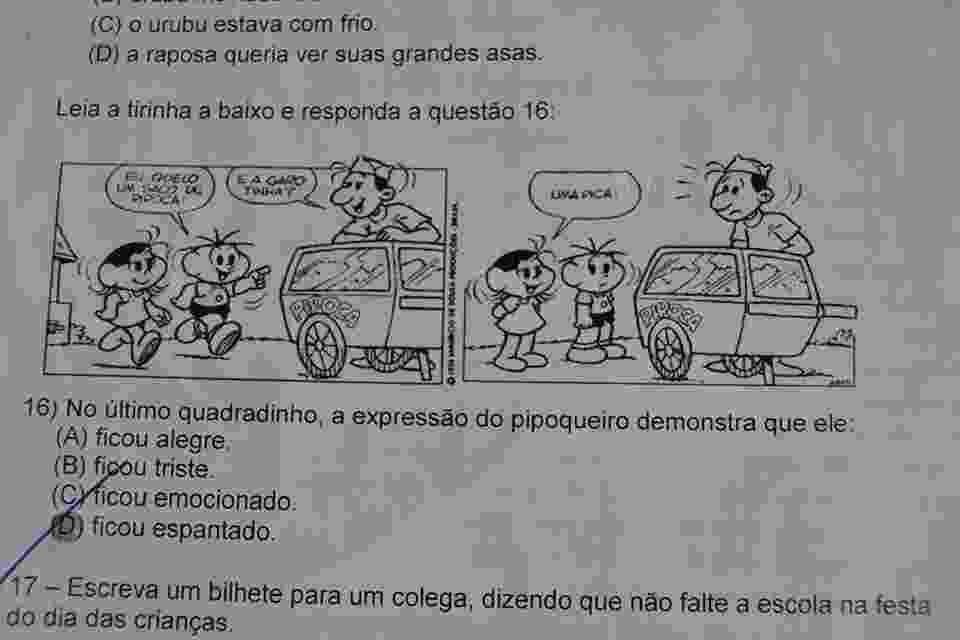 Prova aplicada para alunos do 4º ano do ensino fundamental - Efigênia Ferreira/Arquivo Pessoal