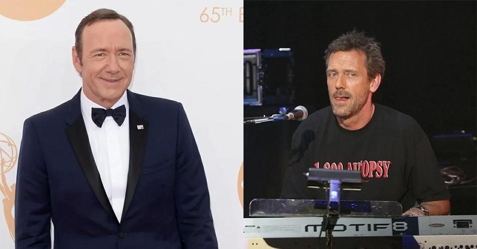 Homens ingleses afirmam que a vida só começa a partir dos 54 anos, idade de Kevin Spacey (à esquerda) e de Hugh Laurie (à direita)