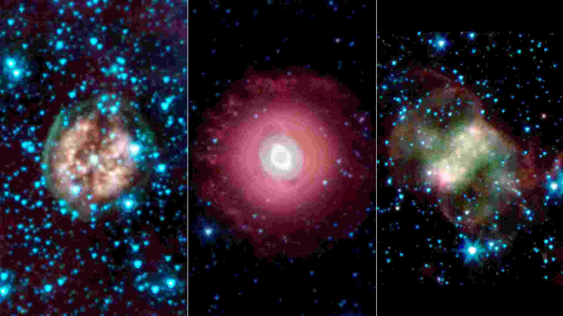 31.out.2013 - Nasa (Agência Espacial Norte-Americana) publica três imagens fantasmagóricas do espaço em comemoração ao Dia das Bruxas nos EUA. As nebulosas, nuvens de poeira, hidrogênio e plasma de estrelas que estão morrendo e ejetando massa, são: Crânio Exposto, a PMR 1, que fica a 5.000 anos-luz na constelação de Vela; Fantasma de Júpiter, que parece um olho ensanguentado, conhecida por NGC 3242, está a  1.400 anos-luz, na constelação de Hydra; já a Pequena Nebulosa do Haltere, se parece com uma borboleta e está a 2.500 anos-luz daqui, na Constelação de Perseus - Nasa/JPL-Caltech/Harvard-Smithsonian CfA