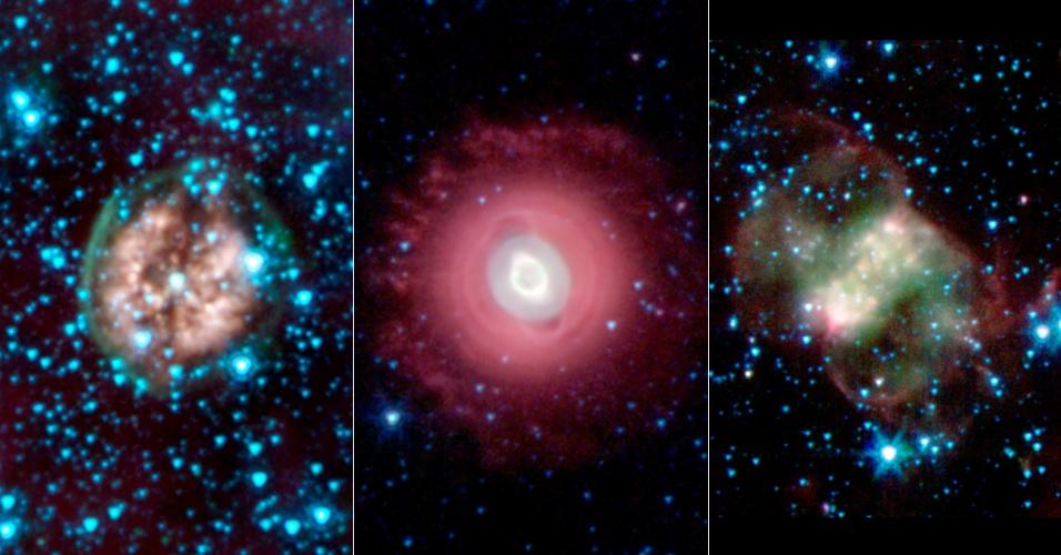 31.out.2013 - Nasa (Agência Espacial Norte-Americana) publica três imagens fantasmagóricas do espaço em comemoração ao Dia das Bruxas nos EUA. As nebulosas, nuvens de poeira, hidrogênio e plasma de estrelas que estão morrendo e ejetando massa, são: Crânio Exposto, a PMR 1, que fica a 5.000 anos-luz na constelação de Vela; Fantasma de Júpiter, que parece um olho ensanguentado, conhecida por NGC 3242, está a  1.400 anos-luz, na constelação de Hydra; já a Pequena Nebulosa do Haltere, se parece com uma borboleta e está a 2.500 anos-luz daqui, na Constelação de Perseus