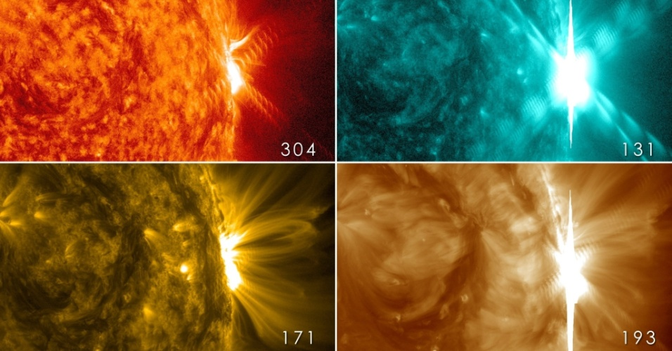 31.out.2013 - O Sol emitiu quatro labaredas da classe X, as mais intensas do astro, registrou o Observatório Solar Dinâmico (SDO, na sigla em inglês), da Nasa (Agência Espacial Norte-Americana). A primeira ocorreu no dia 23 de outubro e a última,  no dia 29 de outubro, quando atingiu seu ápice ao ser classificada como X2.3 - isto é,  ela foi 2,3 vezes mais fortes em comparação com outras explosões da categoria 'X'