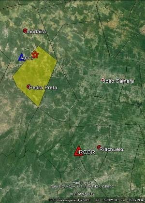 Estrela vermelha no mapa do RNe indica epicentro<br>de sete tremores no município de Pedra Preta - LabSis/UFRN